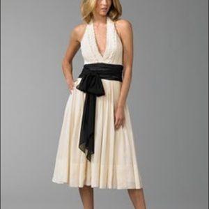 BCBGMaxazria Cream Black Halter Silk Dress SZ 8